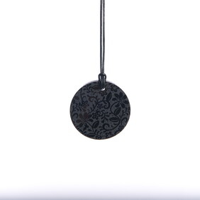 Small Black Lace Etched Circle Necklace ($45.00 NOW ONLY $15.00)